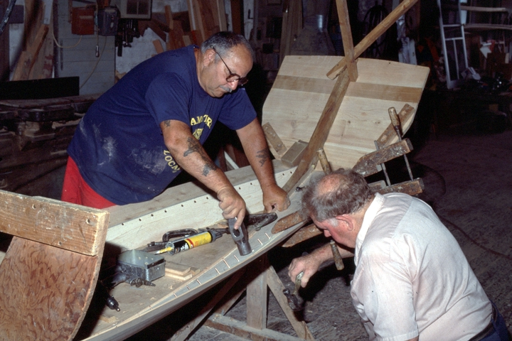 Charles E. Hankins (right) at work on a Sea Bright skiff in his shop, Lavallette, New Jersey, courtesy National Endowment for the Arts