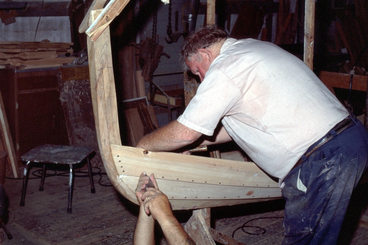Charles E. Hankins at work on a Sea Bright skiff in his shop, Lavallette, New Jersey, courtesy National Endowment for the Arts