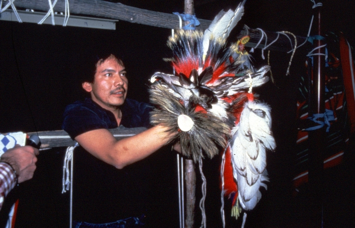 Gerald Hawpetoss makes moccasins and all parts of his native Menominee dance regalia, including headroaches woven from porcupine and deer tail hair, elk horn headpieces and dance bustles. Photograph by James Leary, courtesy National Endowment for the Arts