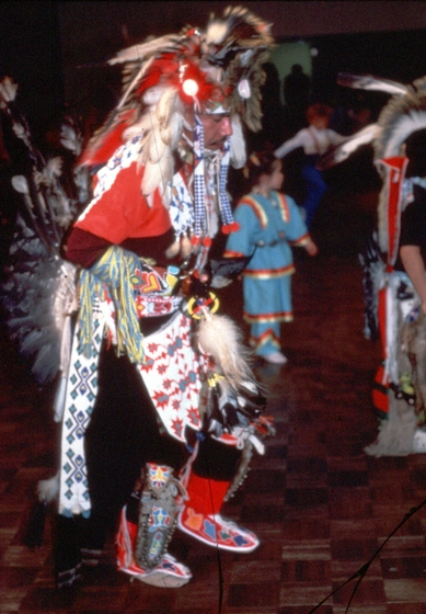 Dancer with Menominee Potawatomi regalia by Gerald Hawpetoss, courtesy National Endowment for the Arts