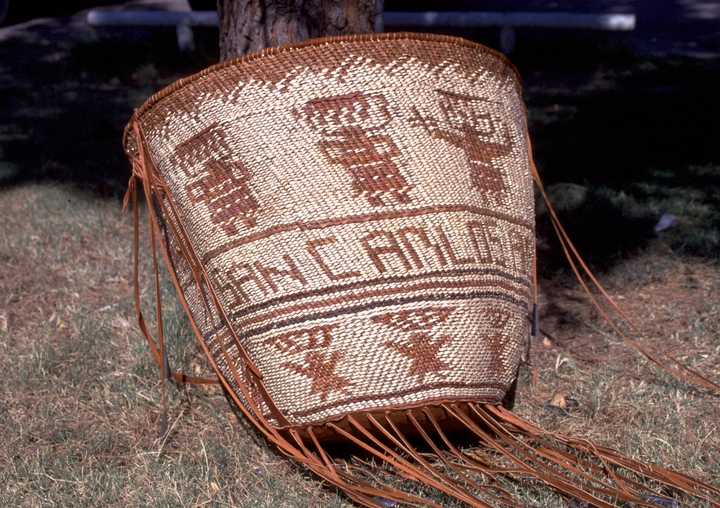 "Burden basket, 'San Carlos, Arizona', 1991. Bottom ribs — catclaw, upper ribs — cottonwood, 28 1/2"" x 24"", San Carlos, Arizona, courtesy National Endowment for the Arts"