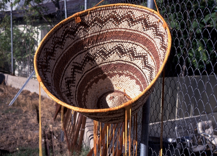 "Burden basket by Evalena Henry, cottonwood ribs, willow design, 30"" wide, 25"" high, 1993, Johnny's Trading Post, Globe, Arizona, courtesy National Endowment for the Arts"