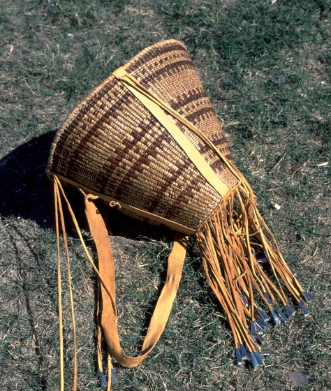 "Ceremonial burden basket, willow ribs and design, 18"" x 17"", San Carlos, Arizona, 1982, courtesy National Endowment for the Arts"