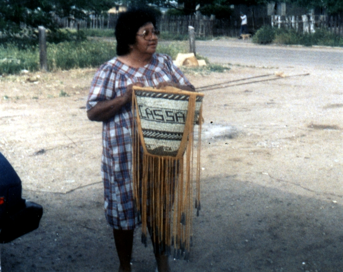 Evalena Henry with a ceremonial burden basket, courtesy National Endowment for the Arts