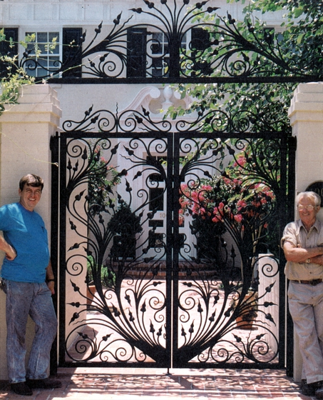 Ornamental ironwork gate made by Bea Ellis Hensley and his son, Mike, courtesy Bea Ellis Hensley
