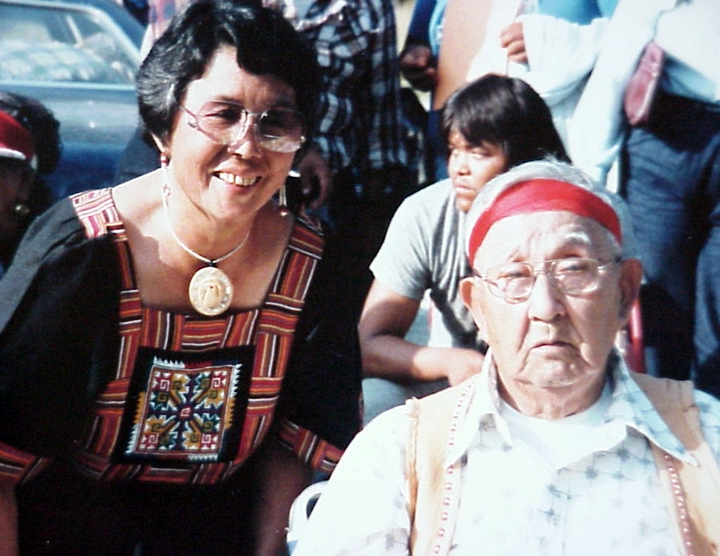 Violet Hilbert with medicine man/storyteller Isadore Tom at a storytelling gathering on the Upper Skagit Reservation, 1985, courtesy Lushootseed Research and National Endowment for the Arts