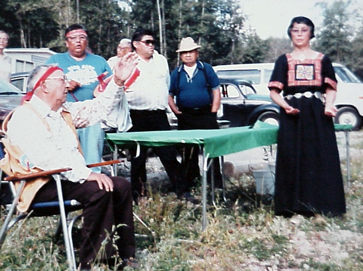 Violet Hilbert (far right) with medicine man/storyteller (far left) Isadore Tom at storytelling gathering on the Upper Skagit Reservation, 1985, courtesy Lushootseed Research and National Endowment for the Arts