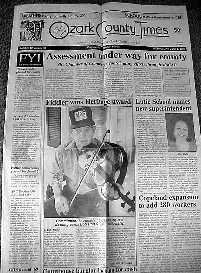 'Fiddler wins Heritage Award,' *Ozark County Times*, June 2, 1999