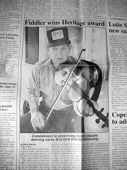 'Fiddler wins Heritage Award,' *Ozark County Times*, June 2, 1999