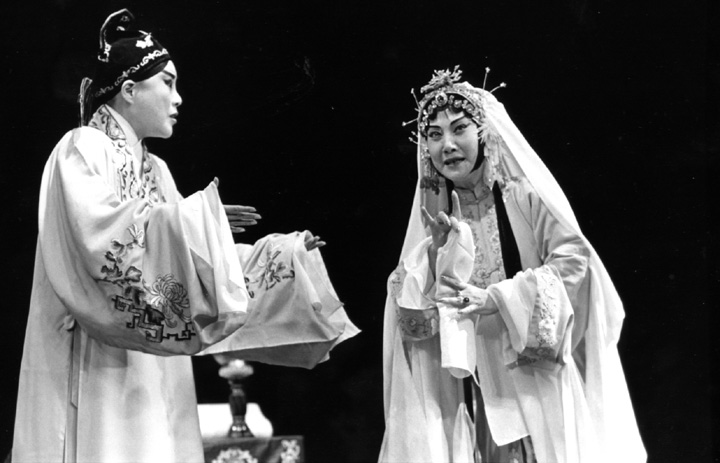 The Lan Ting Chinese Opera Troupe performs 'The Peony Pavilion' at the Taipei Theater. Here, Hua Wenyi (right) enacts the role of Tu Li-Niang with Kao Hui-lan as Lui Meng-mei, a young scholar. New York, New York, June 8, 1994, photograph by Jack Vartoogian