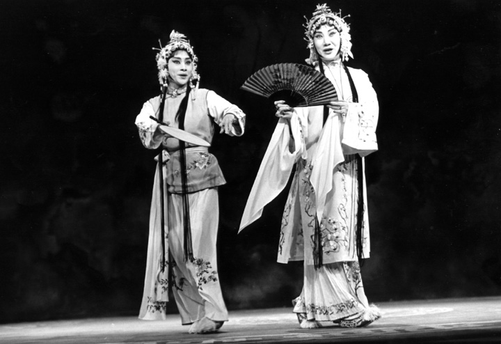 The Lan Ting Chinese Opera Troupe performs 'The Peony Pavilion' at the Taipei Theater. Here, Hua Wenyi (right) enacts the role of Tu Li-Niang with Chen Mai-lan as Chun-hsiang, Tu's maid. New York, New York, June 8, 1994, photograph by Jack Vartoogian