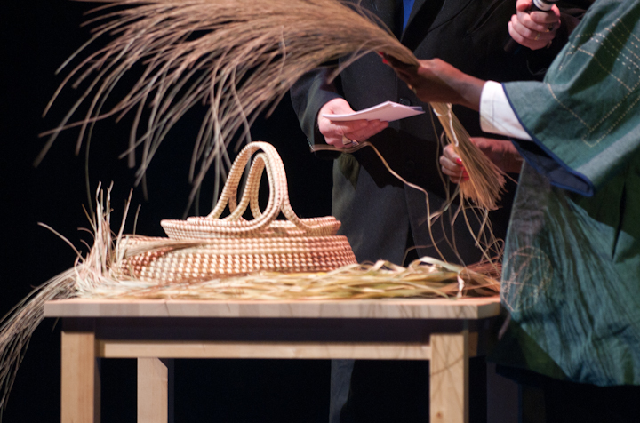 Mary Jackson showing sweetgrass used in making baskets, 2010 National Heritage Fellowship Concert, Bethesda, Maryland, photograph by Alan Hatchett