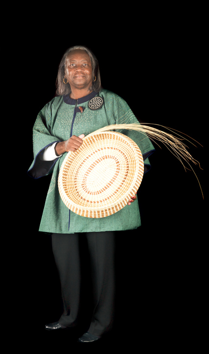 Mary Jackson's intricately coiled sweetgrass baskets preserve a centuries-old craft and continue to expand the tradition of the Gullah community of coastal South Carolina. Bethesda, Maryland, 2010, photograph by Alan Govenar
