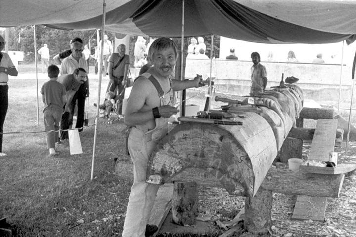 Nathan Jackson at work on a carved pole, courtesy Alaska State Council on the Arts