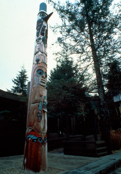 Carved pole by Nathan Jackson, photograph by Larry McNeil, courtesy Alaska State Council on the Arts