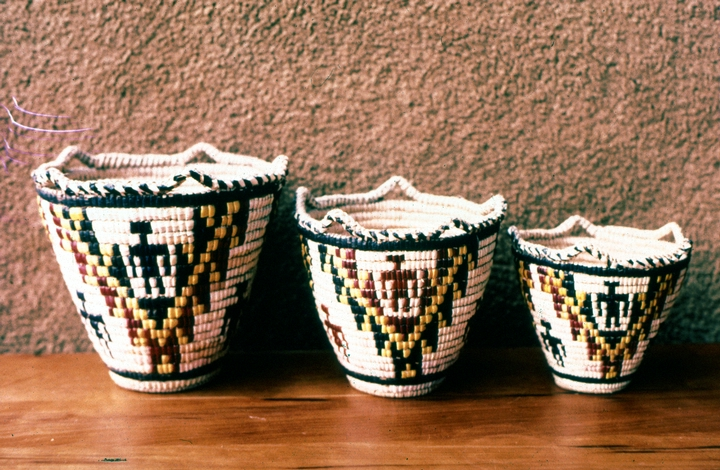 Three Klickitat cedar root baskets designed and created by Nettie Kuneki Jackson in 1981, courtesy National Endowment for the Arts