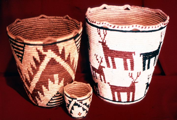 Klickitat cedar root basket designed and created by Nettie Kuneki Jackson (right basket only), courtesy National Endowment for the Arts