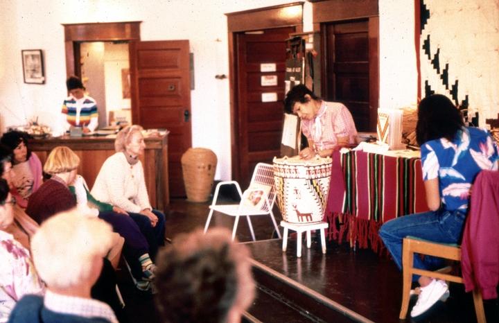 Nettie Kuneki Jackson demonstrates the making of Klickitat cedar root baskets. courtesy National Endowment for the Arts