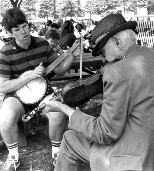 Tommy Jarrell (right), 1982, courtesy Ralph Rinzler Folklife Archives and Collections, Center for Folklife and Cultural Heritage, Smithsonian Institution