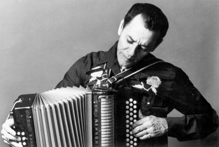 Accordionist and singer Santiago Jiménez, Jr., has followed the traditional style of his father, a pioneer of South Texas *conjunto* music. Although Santiago, Jr. sometimes adds drums to appeal to a younger generation, he continues to play the button accordion accompanied by the upright bass and *bajo sexto*. Photograph by Jane Levine, courtesy National Endowment for the Arts