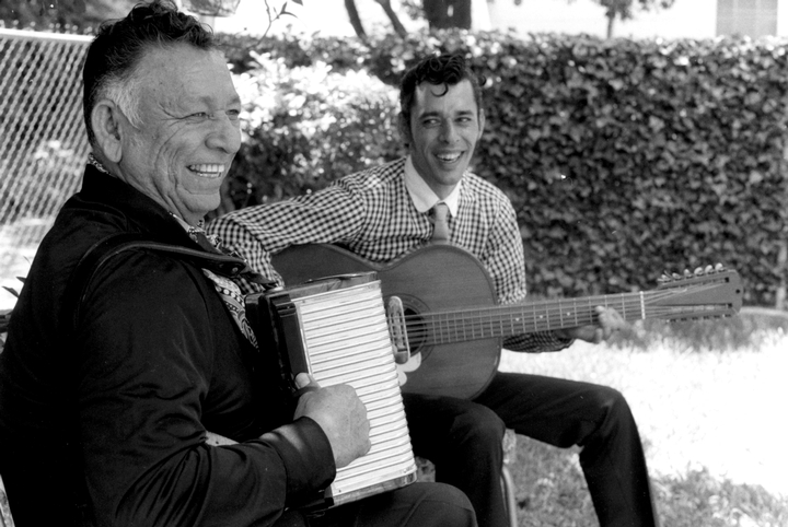 Santiago Jiménez, Jr. (right) with his father, Don Santiago Jiménez, San Antonio, Texas, photograph by Chris Strachwitz/Arhoolie Records