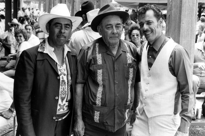 Valerio Longoria, Narciso Martínez, Santiago Jiménez, Jr., photograph by Chris Strachwitz/Arhoolie Records