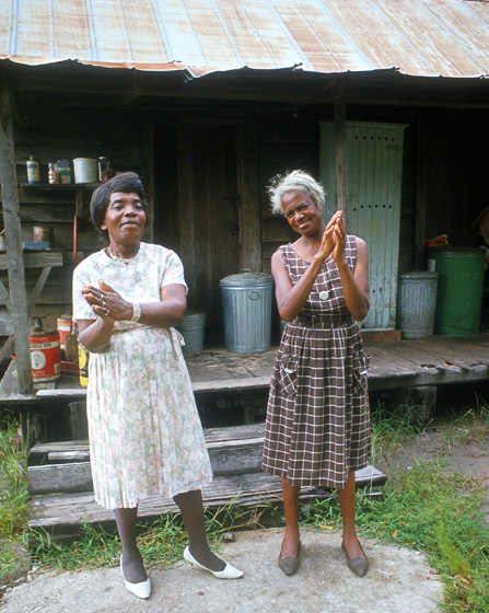 Bessie Jones and Leola Polite Harris, St. Simons Island, Georgia, 1966, courtesy Ralph Rinzler Folklife Archives and Collections, Center for Folklife and Cultural Heritage, Smithsonian Institution
