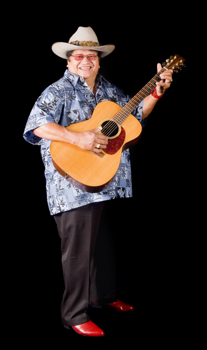 Ledward Kaapana is a popular, versatile Hawaiian ukulele and slack-key guitarist and vocalist who has worked with musicians ranging from Hawaiian traditionalists such as Aunty Genoa Keawe to Chet Atkins and Dolly Parton. 2011, photograph by Alan Govenar