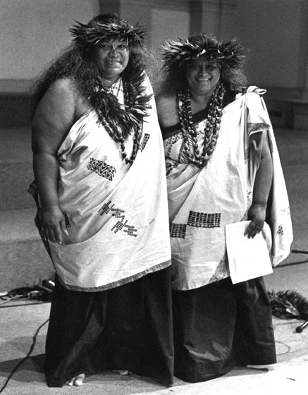 Nalani Kanaka'ole and Pualani Kanaka'ole Kanahele, 1993, photograph by Jack Vartoogian