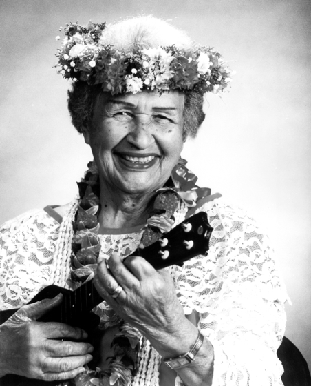 Genoa Keawe was a Native Hawaiian falsetto singer and ukulele player whose recordings between the 1940s and 1960s have become standards in the traditional Hawaiian repertoire. Courtesy National Endowment for the Arts