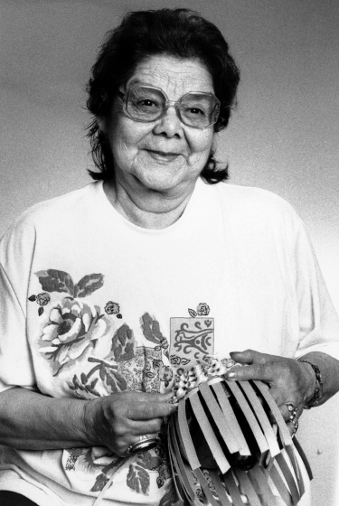Clara Neptune Keezer learned basket making and woodworking from her family on the Passamaquoddy tribal land in Maine. She has passed her painstaking art along to two of her sons and to apprentices, though it's hard to find people with the patience necessary to master the work. Courtesy National Endowment for the Arts
