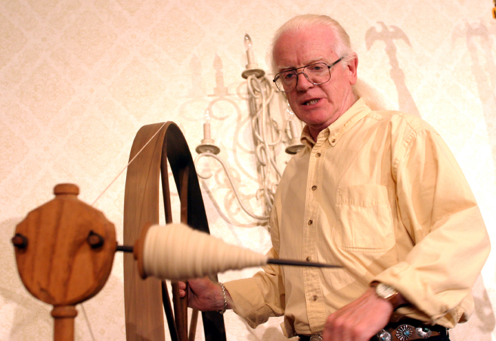 "Weaver, singer and storyteller Norman Kennedy has passed along the lessons in tradition and self-sufficiency he learned as a boy in Scotland. ""The old ways were easier because people had to find the least complicated ways to do things out of necessity,"" he says. 2003, National Heritage Fellowship Concert, Arlington, Virginia, photograph by Jim Saah, courtesy National Endowment for the Arts"