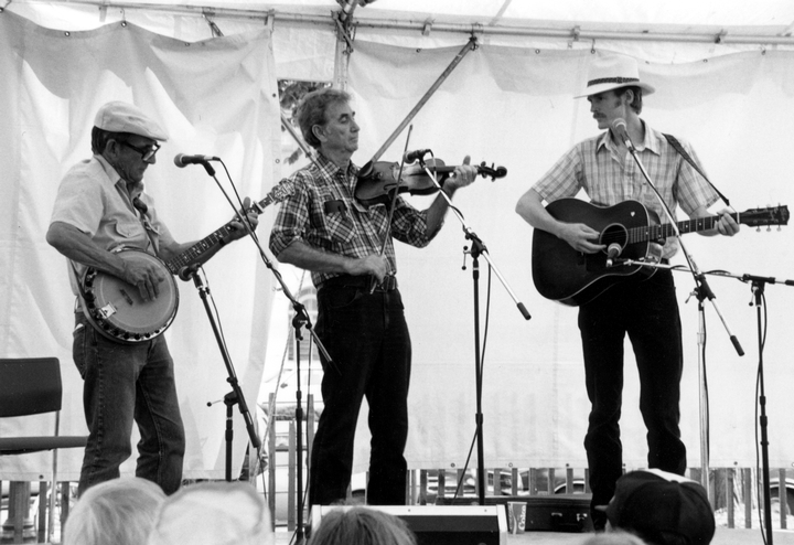 Will Keys (left), Ralph Blizard (center) and Phil Jamieson, Smithsonian Festival of American Folklife, June 26, 1986, Photograph by Robert Cogswell, Courtesy Tennessee Arts Commission