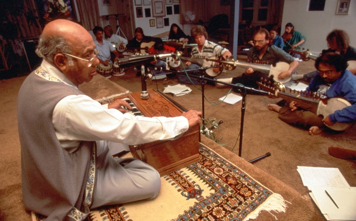 Ali Akbar Khan teaching students, photograph by Lawson Knight, courtesy National Endowment for the Arts