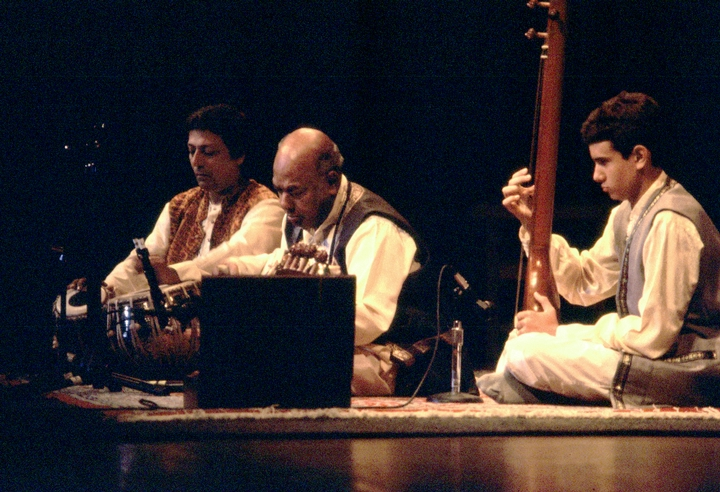 Ali Akbar Khan (center), photograph by Kamal Bakshi, courtesy National Endowment for the Arts