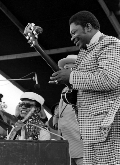 B.B. King at the New Orleans Jazz and Heritage Festival, photograph by Chris Strachwitz/Arhoolie Records