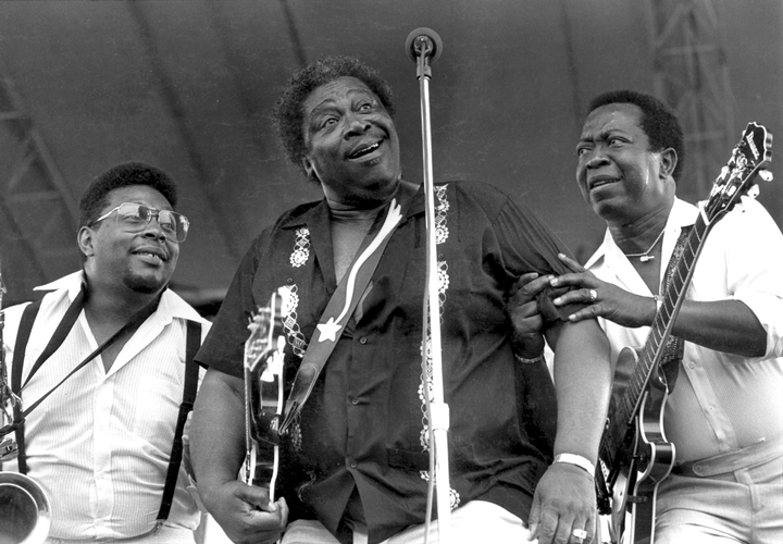 Walter King, B.B. King and Leon Walker, New Orleans Jazz and Heritage Festival, 1988, photograph by Michael P. Smith
