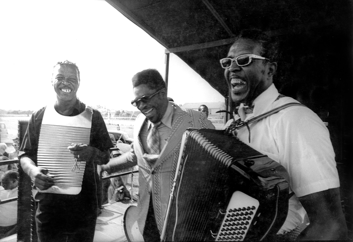 Cleveland Chenier, B.B. King, Clifton Chenier, New Orleans Jazz and Heritage Festival, 1972, photograph by Michael P. Smith