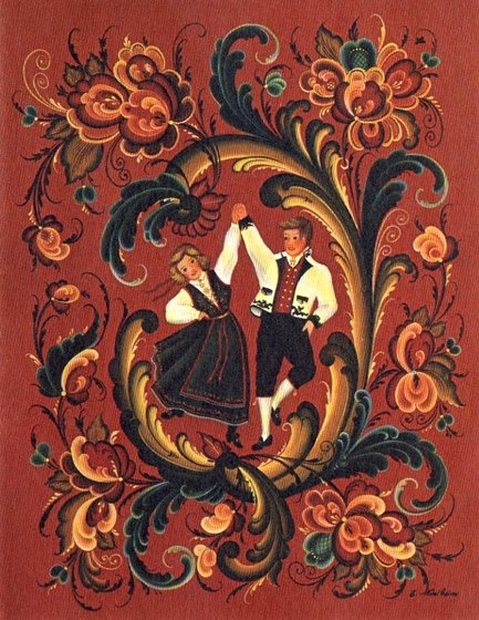 *Rosemaling* design by Ethel Kvalheim for a Nelson Industries holiday card, 1990, courtesy American Folklife Center, Library of Congress