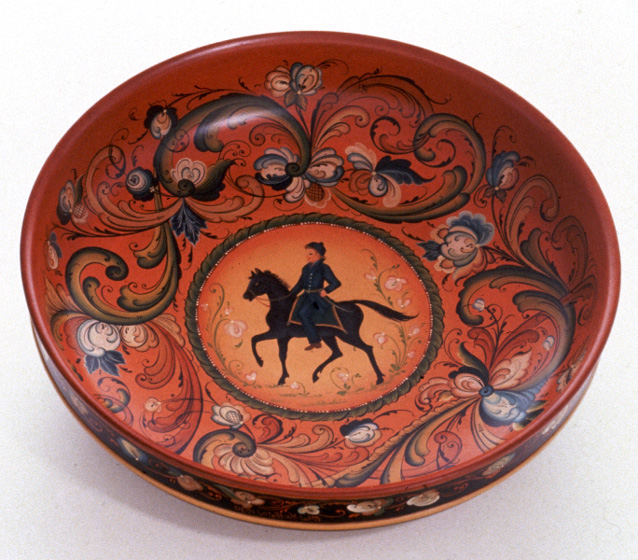 """Bowl by Ethel Kvalheim, wod, painted in the Telemark style, 16"""" diameter, ca. 1989, photograph by Michel Monteaux, courtesy Museum of International Folk Art (aunit of the Museum of New Mexico)"""