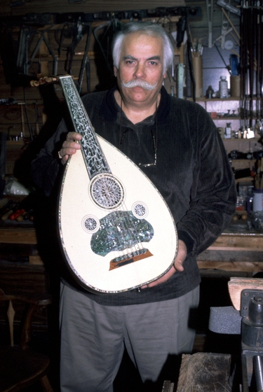 Peter Kyvelos with one of his hand-crafted ouds, Belmont, Massachusetts, courtesy National Endowment for the Arts