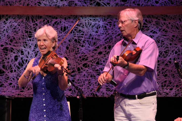Dudley Laufman, dance caller and fiddler, with Jacqueline Laufman, 2009 National Heritage Fellowship Concert, Bethesda, Maryland, photograph by Michael G. Stewart