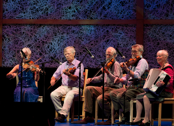 Dudley Laufman, dance caller and fiddler, 2009 National Heritage Fellowship Concert, Bethesda, Maryland, photograph by Alan Hatchett