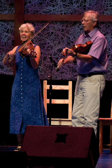 Dudley Laufman, dance caller and fiddler, with Jacqueline Laufman, 2009 National Heritage Fellowship Concert, Bethesda, Maryland, photograph by Alan Hatchett