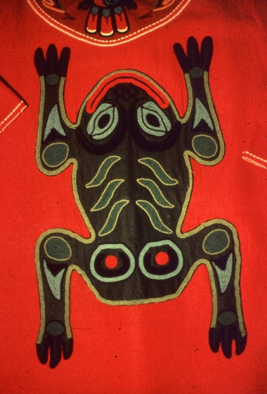 Frog clan design on Tlingit regalia by Esther Littlefield, courtesy National Endowment for the Arts