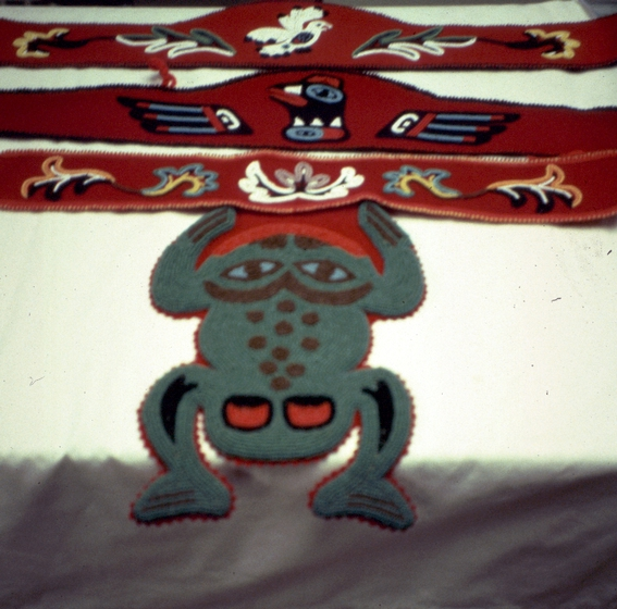 Raven and Frog clan designs on Tlingit regalia by Esther Littlefield, courtesy National Endowment for the Arts