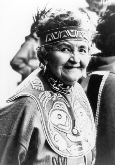 Esther Littlefield belonged to the Kiksadi, a Tlingit clan whose members can wear the Raven emblem. Her mother taught her the traditional techniques of beadwork, button design and the handling of felt and leather. Photograph by Ernest R. Manewal, courtesy National Endowment for the Arts