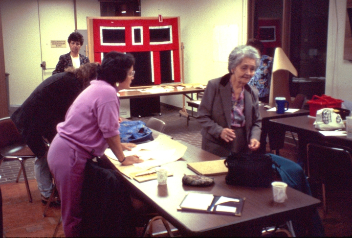 Workshop at the Totem Heritage Center, Ketchikan, Alaska, October 1990, photograph by Barry Bergey, courtesy National Endowment for the Arts