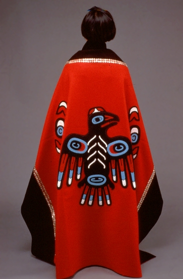 Tlingit button robe with a traditional Raven crest design by Esther Littlefield, photograph by Chris Arend, courtesy Alaska State Council on the Arts and National Endowment for the Arts