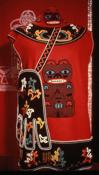 Tlingit robe with an Octopus bag by Esther Littlefield, courtesy National Endowment for the Arts